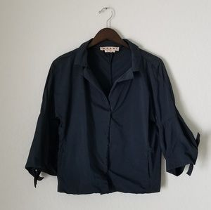 Marni navy bell sleeve jacket